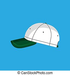 Baseball cap vector flat icon hat isolated clothing. Accessory side view green sport uniform cotton visor