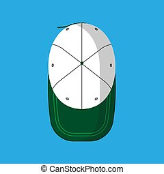 Baseball cap vector flat icon hat isolated clothing. Accessory top view green sport uniform cotton visor above