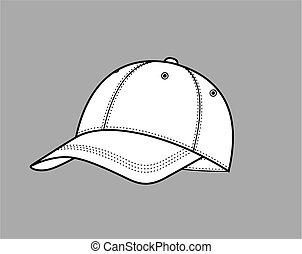 Baseball cap - Vector illustration of a baseball cap on grey...