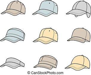 Vector illustration of baseball caps. Different models