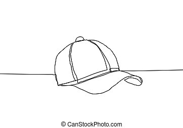 Baseball cap vector illustration on a white background. Continuous line drawing style.