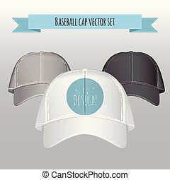 Baseball cap vector set. Realistic illustration. Front view