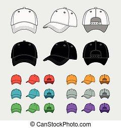 Baseball cap vector template set. Uniform fashion, blank hat, design sport clothing. Vector illustration