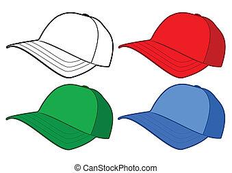 baseball cap, vektor, template.