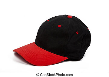 baseball cap with black and red colors