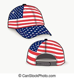 Baseball cap with USA flag realistic - Baseball cap with...