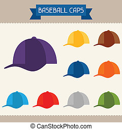 Baseball caps colored templates for your design in flat...