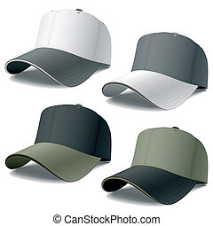 Vector photorealistic illustration of baseball caps