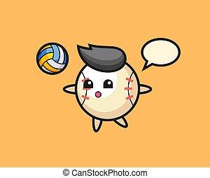 Baseball cartoon is playing volleyball