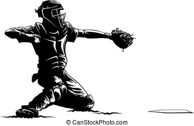 Baseball Catcher at Home Plate - Black and white vector...