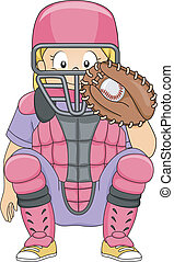 Baseball Catcher Girl Position