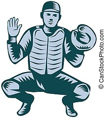 Illustration of a baseball catcher with gloves facing front in a squat position set on isolated white background done in retro woodcut style.