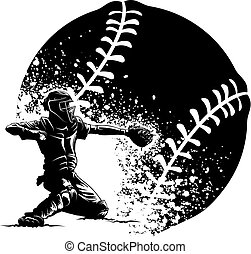 Baseball Catcher Grunge - Highlighted silhouette of a ...