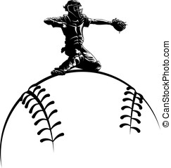 Baseball Catcher on Top a Sytlized