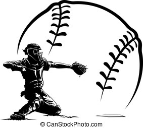 Baseball Catcher With Stylized Ball - Black and white vector...