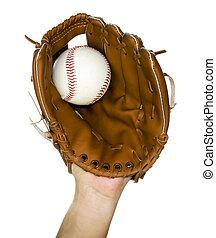 baseball caught in glove