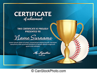 Baseball Certificate Diploma With Golden Cup . Sport Award Template. Achievement Design. Honor Background. A4 Horizontal. Illustration
