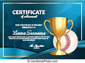 Baseball Certificate Diploma With Golden Cup Vector. Sport Award Template. Achievement Design. Honor Background. A4 Horizontal. Illustration