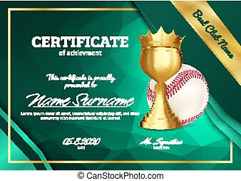Baseball Certificate Diploma With Golden Cup Vector. Sport...