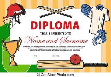 Baseball certificate, sport award diploma template