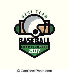Baseball championship 2017, best team logo template, design element for, badge, banner, emblem, label, insignia vector Illustration on a white background