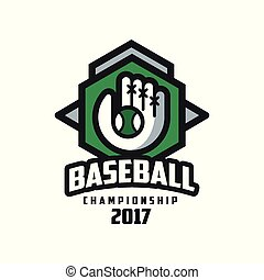 Baseball championship 2017 logo, design element for, badge, banner, emblem, label, insignia vector Illustration on a white background