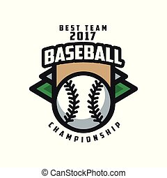 Baseball championship, best team 2017 logo template, design element for, badge, banner, emblem, label, insignia vector Illustration on a white background
