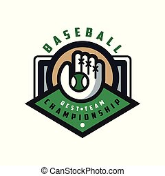 Baseball championship, best team logo template, design element for, badge, banner, emblem, label, insignia vector Illustration on a white background