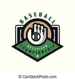 Baseball championship, best team logo template, design element for, badge, banner, emblem, label, insignia vector Illustration on a white background