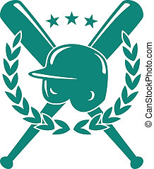 Baseball championship emblem in green and white with a ...