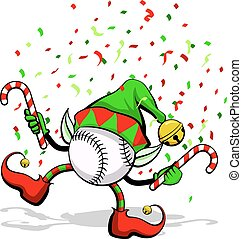 A baseball celebrating Christmas by dancing with candy canes, elf ears, hat and ears, and confetti.