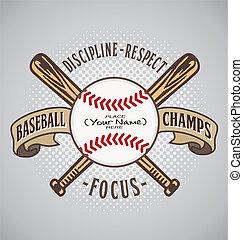 baseball, chrupać, nazwa, napełniać