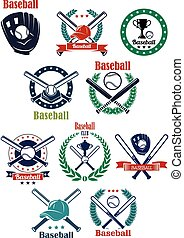Baseball club and game emblems with equipment