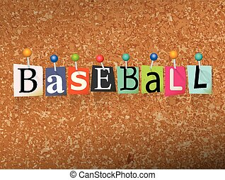 Baseball Concept Pinned Letters Illustration