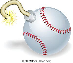 baseball, conto alla rovescia, bomba, illustrazione
