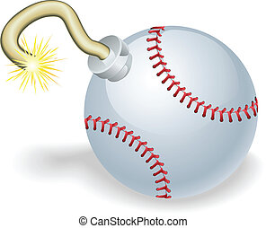 Baseball countdown bomb illustration - Time bomb in shape of...