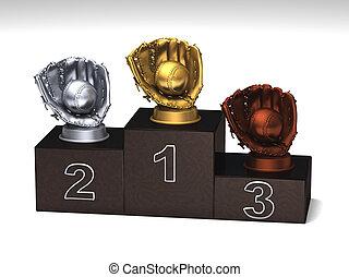 Baseball dark wood podium