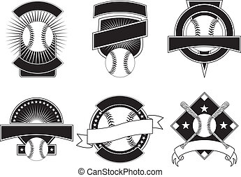 Baseball Design Templates - Illustration of six baseball...