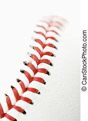 Baseball detail. - Detail of stitching on baseball.