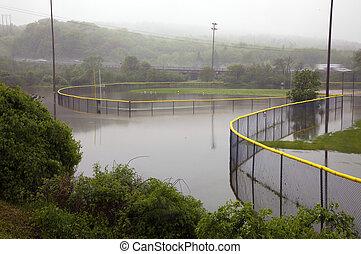 Baseball Diamond Fields Flooded