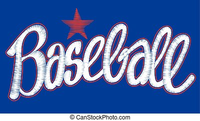 Baseball digitized machine embroidery script with star design