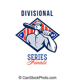 Baseball Divisional Series Finals Retro - Illustration of a ...