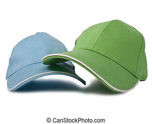baseball, dwa, czapki