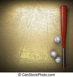baseball, e, dorato, parete, fondo