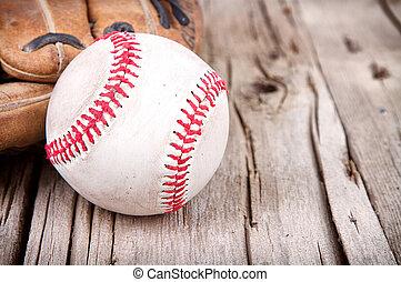 baseball, e, manopola, su, legno, fondo