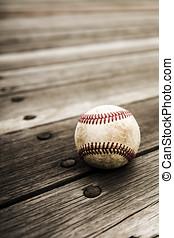 baseball, e, manopola, su, rustico, legno, fondo