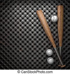 baseball, e, parete metallo, fondo