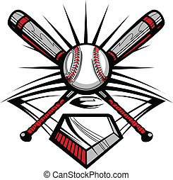 baseball, eller, softball, kryds, flagermus, w