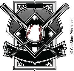 baseball, eller, softboll, fält, med, slagträ