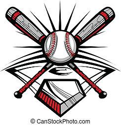 baseball, eller, softboll, korsat, slagträ, w